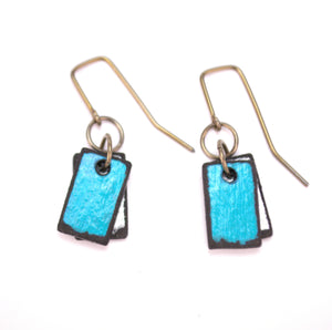 Mini turquoise rectangle earrings, made from rawhide in Cheyenne Wyoming, hypoallergenic