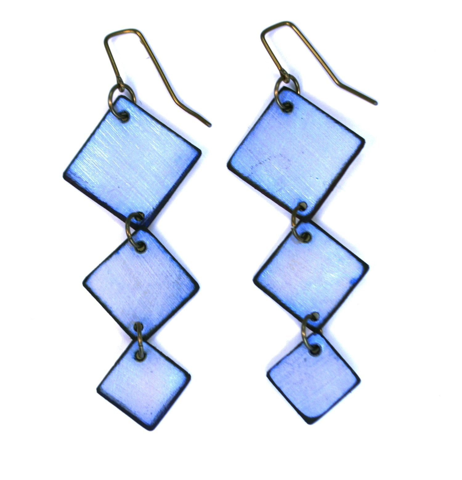 Iridescent Blue colored Square Dance earrings are made with three diamond shapes. Made with lightweight rawhide in Wyoming USA