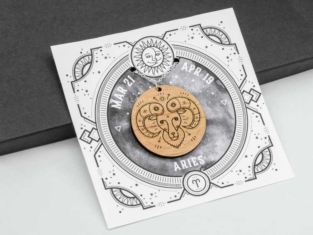 Aries Zodiac Necklace Laser Engraved Wood Silver Chain Gift Astrology March April Birthday - WayvDesigns