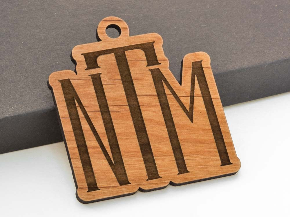 Personalized Monogram Christmas Ornament Laser Engraved Alder Wood - WayvDesigns