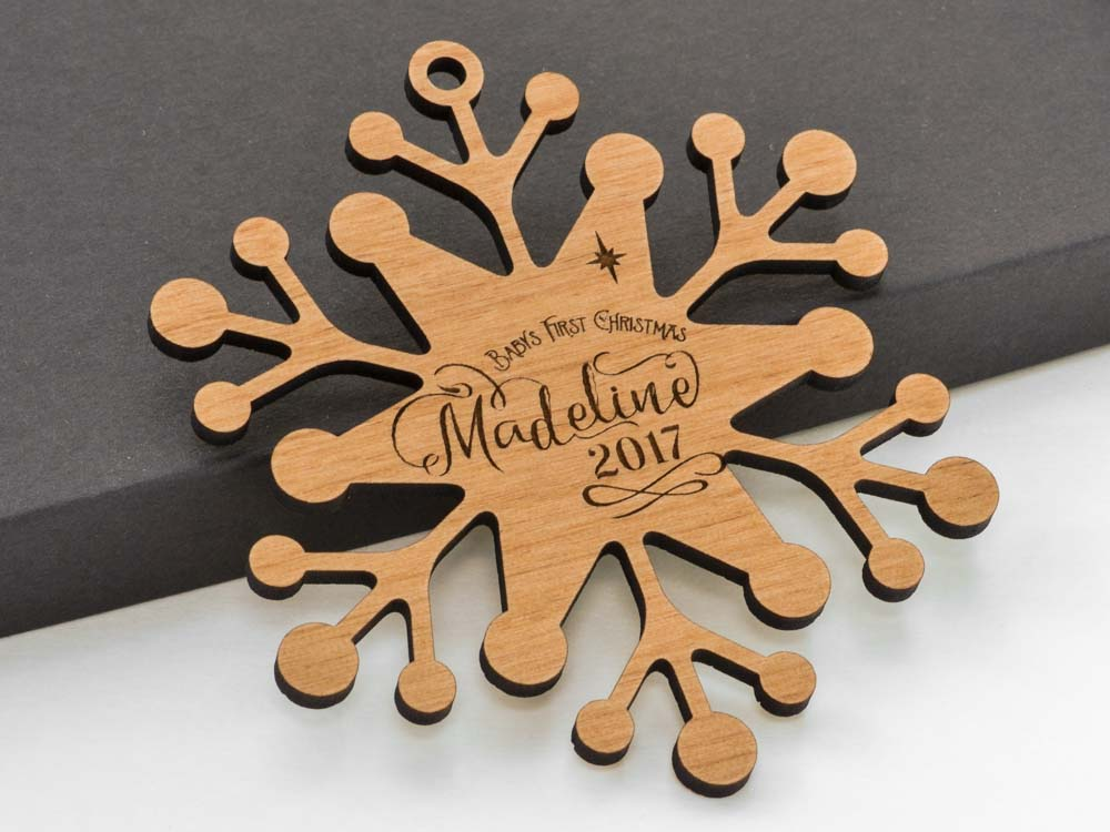 Personalized Name Retro Snowflake Ornament Laser Engraved Wood Custom Made Baby Name Wedding Gift - WayvDesigns
