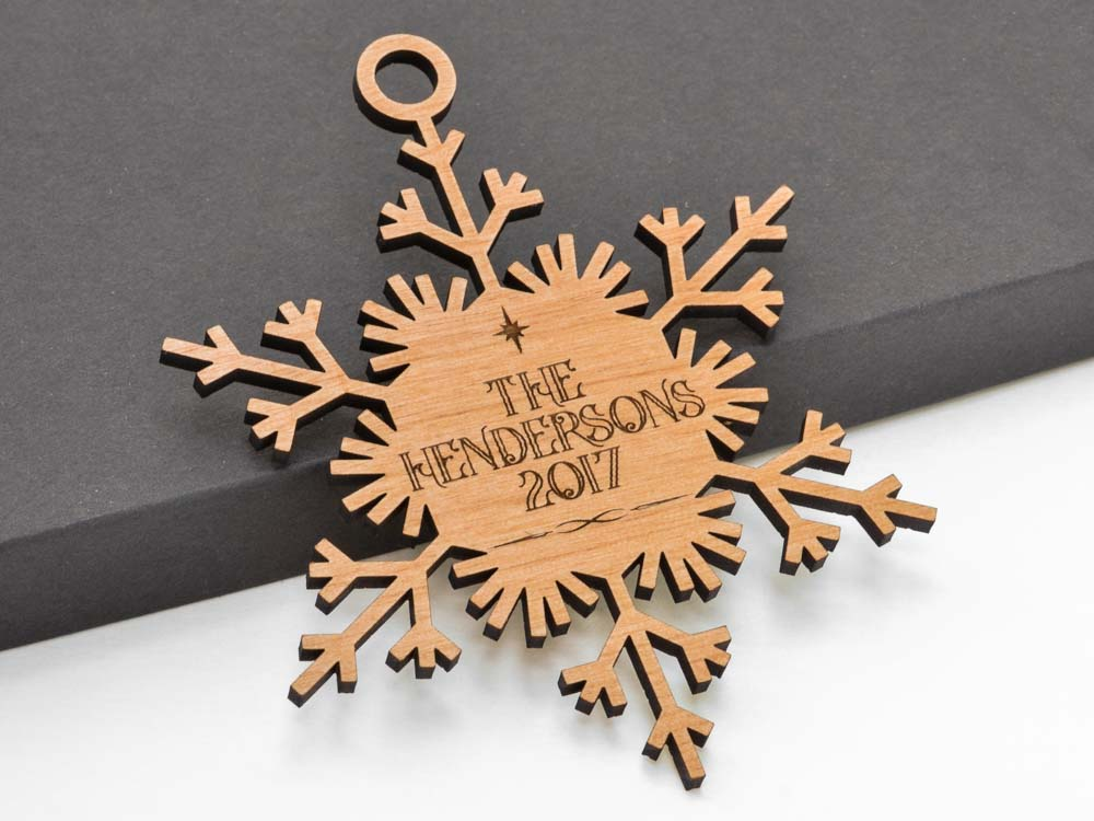 Personalized Name Delicate Snowflake Ornament Laser Engraved Wood Custom Made Baby Shower Gift - WayvDesigns