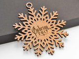 Personalized Name Nordic Snowflake Ornament Laser Engraved Wood Custom Made Baby Name Wedding Gift - WayvDesigns