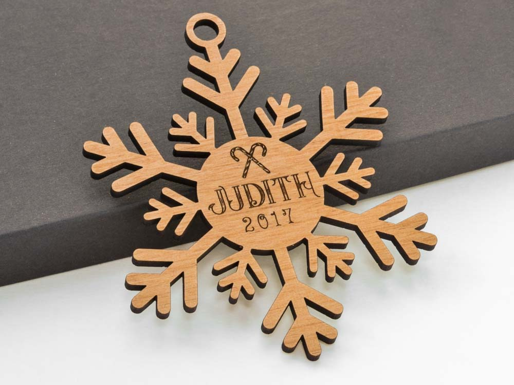 Personalized Name Whimsical Snowflake Ornament Laser Engraved Wood Custom Made Baby Shower Gift - WayvDesigns