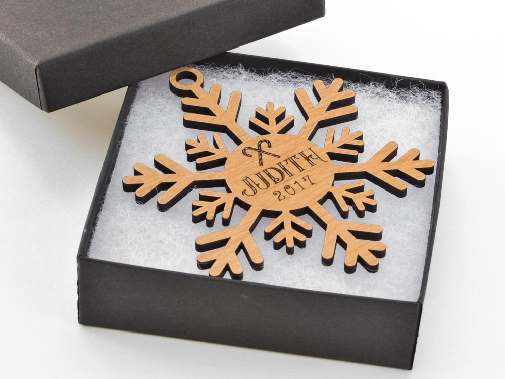Personalized Name Classic Snowflake Ornament Laser Engraved Wood Custom Made Baby Name Wedding Gift - WayvDesigns