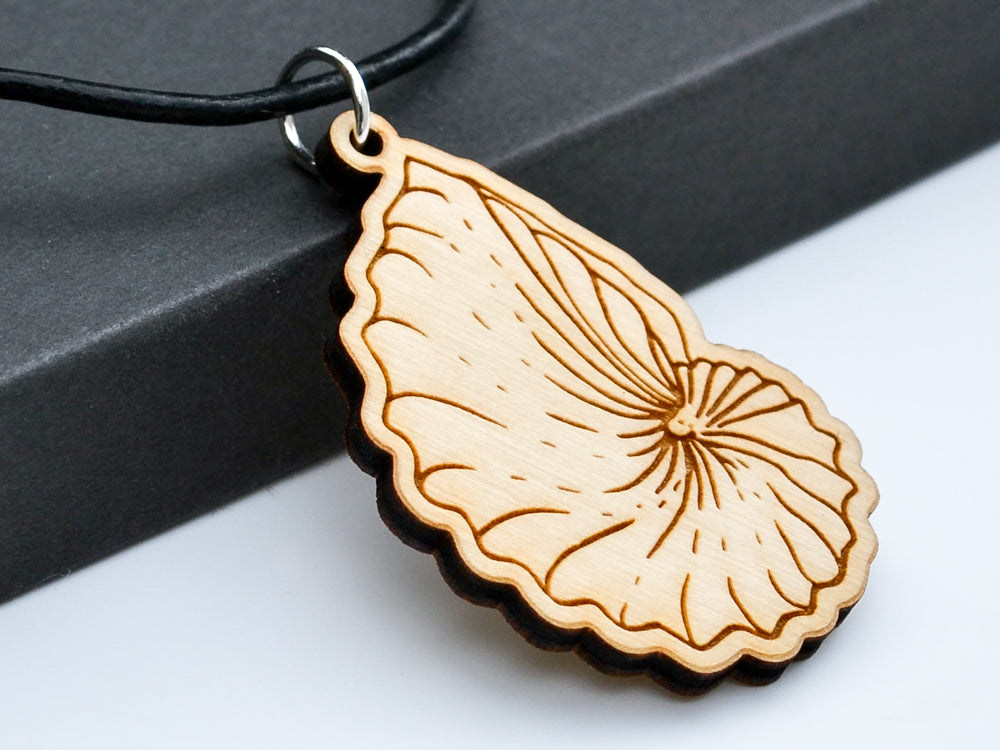 "Nautilus Shell Necklace Laser Engraved from Alder Wood with 18"" Leather Cord Necklace - WayvDesigns"