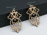 Geometric Owl Leather Earrings Laser Engraved Cutout Sacred Geometry Gift for Women