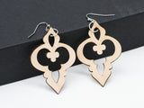 Geometric Quatrefoil Leather Earrings Laser Engraved Cutout Sacred Geometry Gift for Women - WayvDesigns