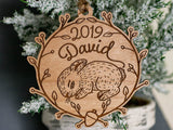 Personalized Baby Name Bunny Ornament Laser Engraved Wood Custom Made Babys First Christmas - WayvDesigns