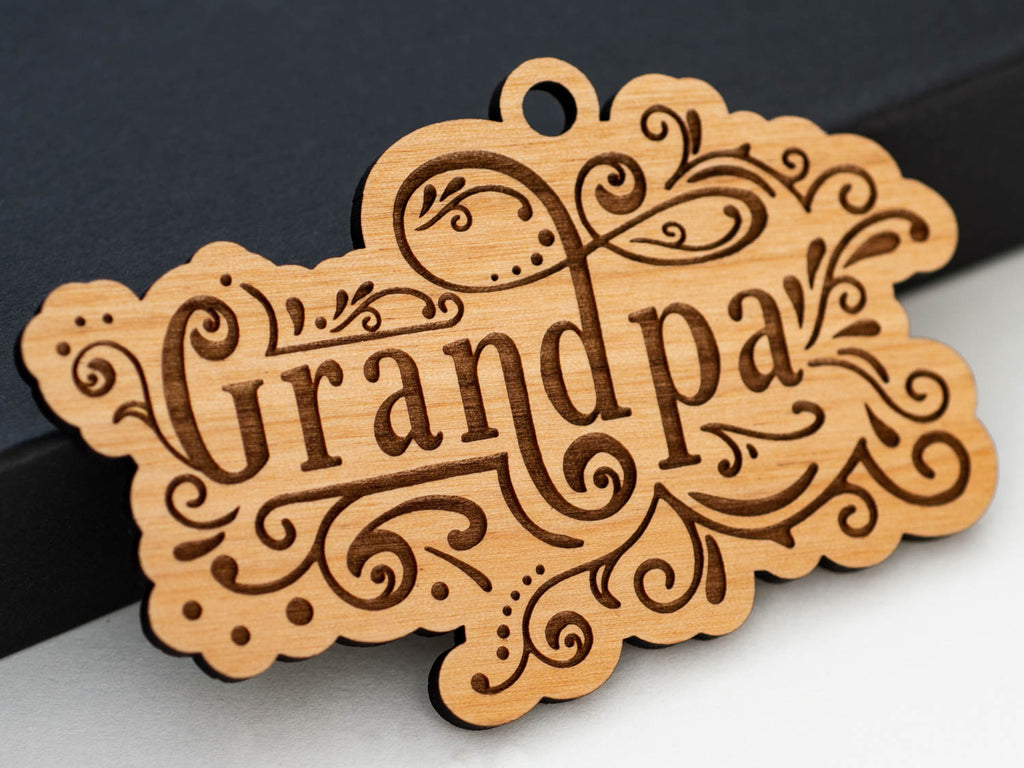 Personalized Grandpa Christmas Tree Ornament Laser Engraved Wood Custom Stocking Stuffer Gift - WayvDesigns