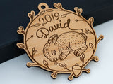 Personalized Baby Name Bunny Ornament Laser Engraved Wood Custom Made Babys First Christmas