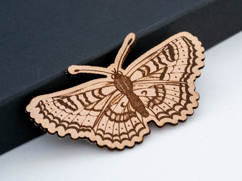 Butterfly Leather Hair Clip Laser Engraved Gift for Women - WayvDesigns