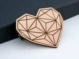 Geometric Heart Leather Hair Clip Laser Engraved Gift for Women