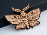 Lunar Moth Leather Hair Clip Laser Engraved Gift for Women - WayvDesigns