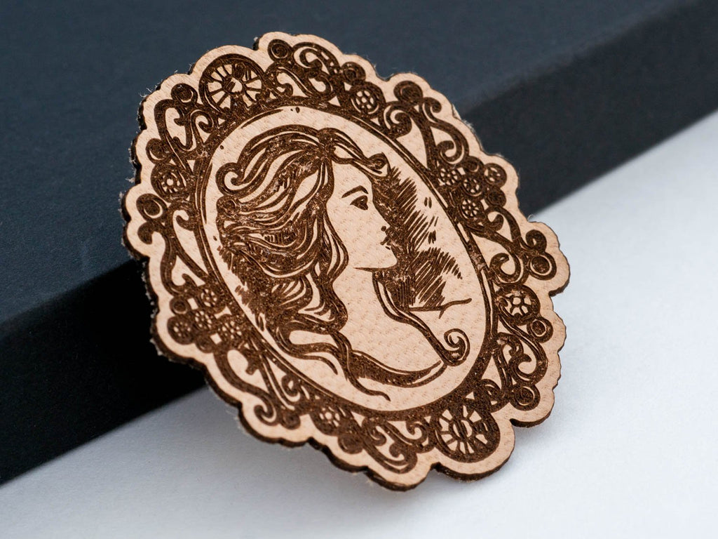Vintage Cameo Leather Hair Clip Laser Engraved Gift for Women - WayvDesigns