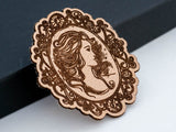 Vintage Cameo Leather Hair Clip Laser Engraved Gift for Women