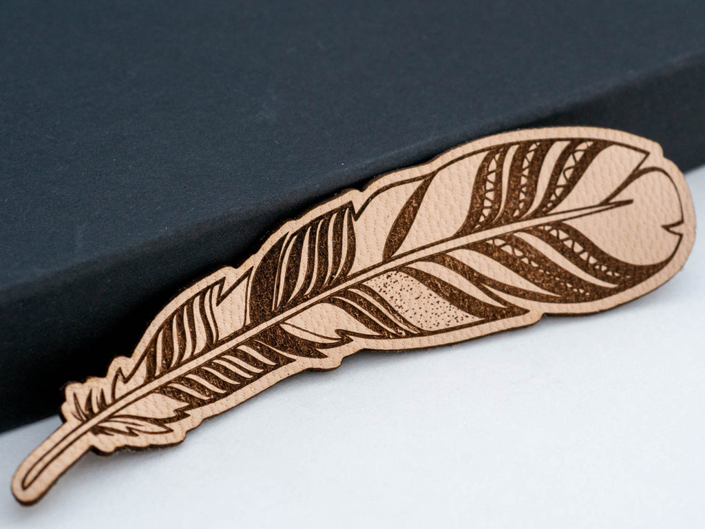 Long Tribal Boho Feather Leather Hair Clip Laser Engraved Gift for Women - WayvDesigns