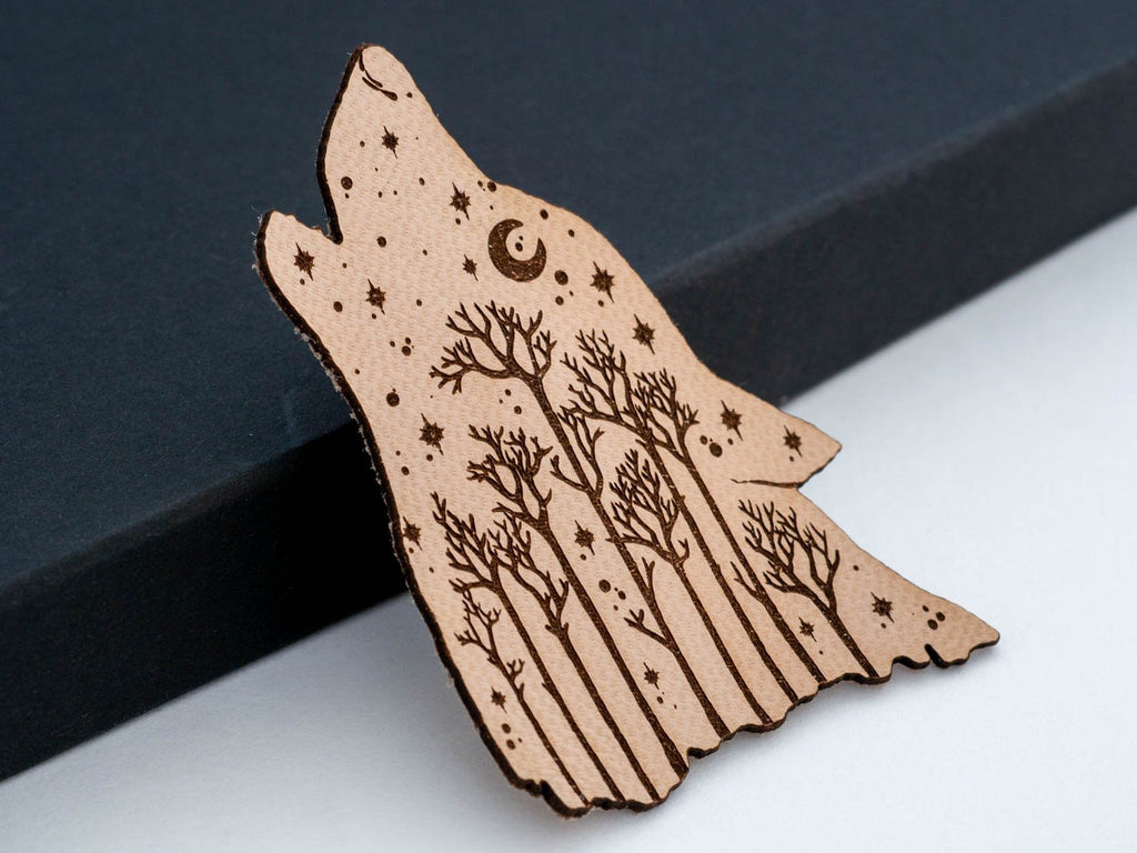 Starry Howling Wolf Leather Hair Clip Laser Engraved Gift for Women - WayvDesigns
