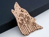 Starry Howling Wolf Leather Hair Clip Laser Engraved Gift for Women
