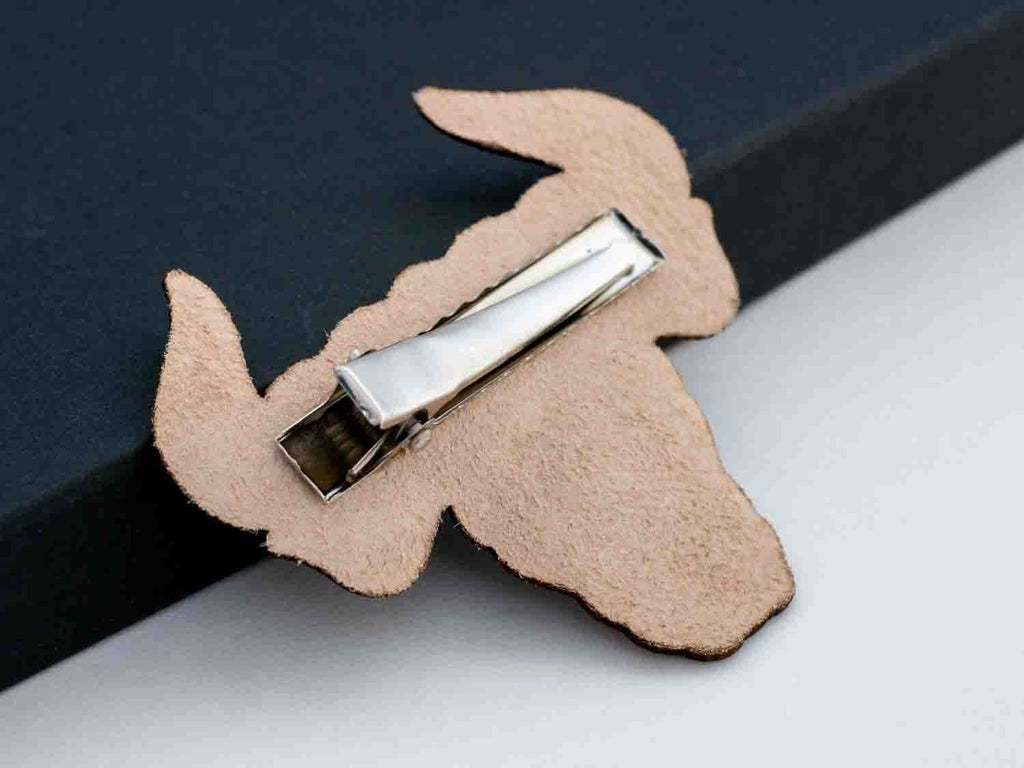 Zodiac Taurus Leather Hair Clip Laser Engraved Gift for Women - WayvDesigns