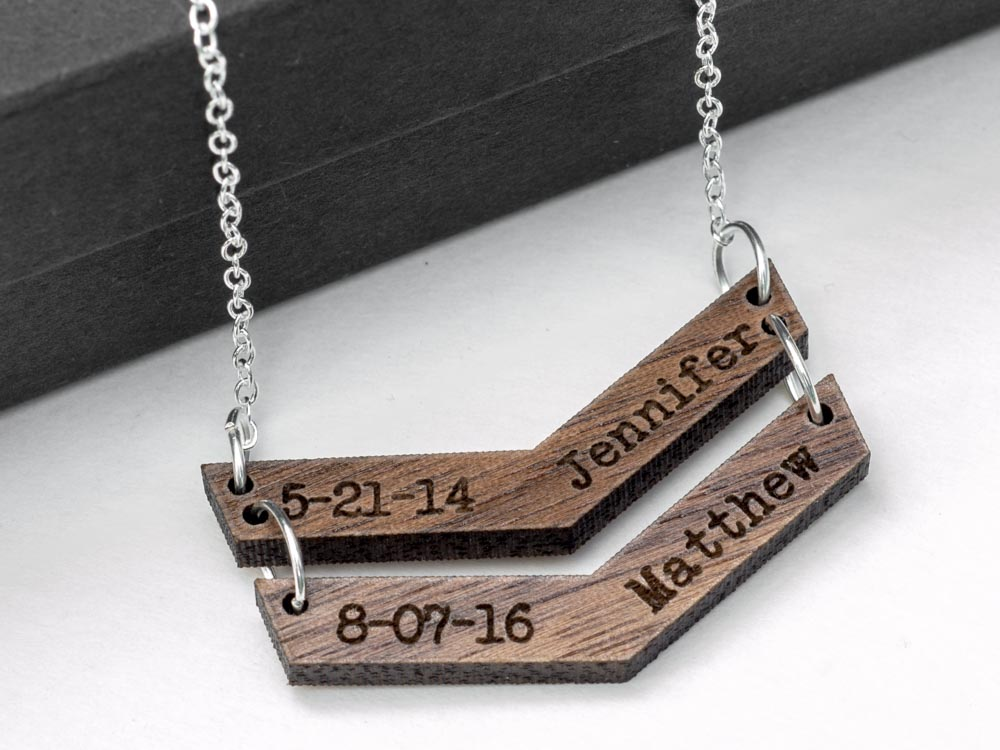 Personalized Chevron Necklace Laser Engraved Wood Pendant Custom Mothers Day Gift Stocking Stuffer - WayvDesigns