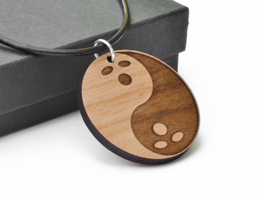 The Big Lebowski Dudeism Bowling Ball Yin Yang Necklace Laser Engraved from Alder Wood Leather Cord - WayvDesigns