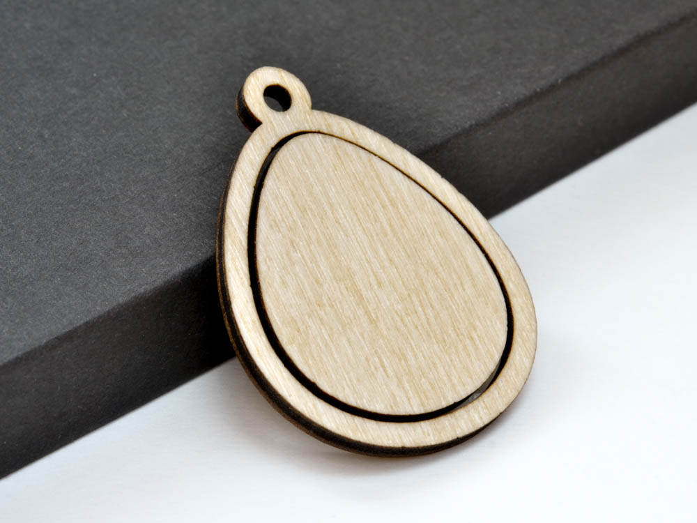 Large Easter Egg Embroidery Hoop Pendants Teardrop Laser Cut Engraved from Wood EHPEGG-L - WayvDesigns