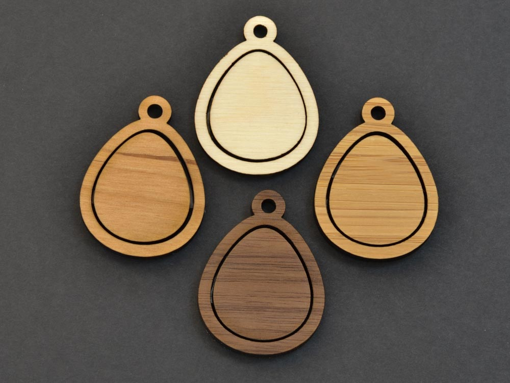 Small Easter Egg Embroidery Hoop Pendants Teardrop Laser Cut Engraved from Wood EHPEGG-S - WayvDesigns