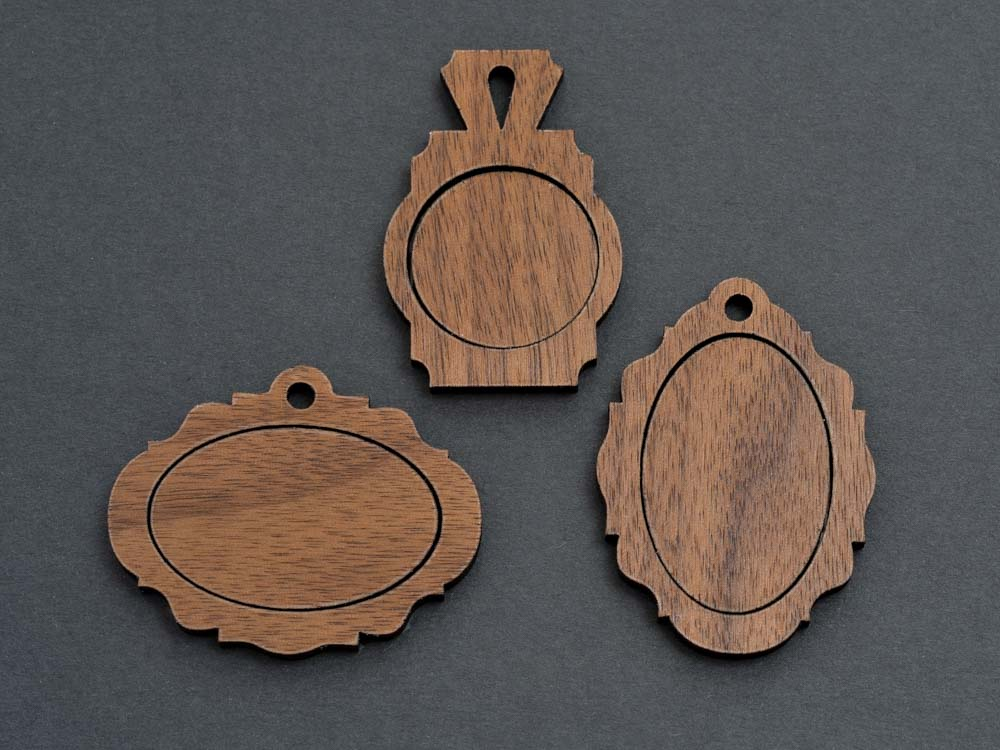 "1"" x 1.5"" Embroidery Hoop Victorian Frame Vertical Pendants 25mmx38mm Laser Cut from Wood - WayvDesigns"