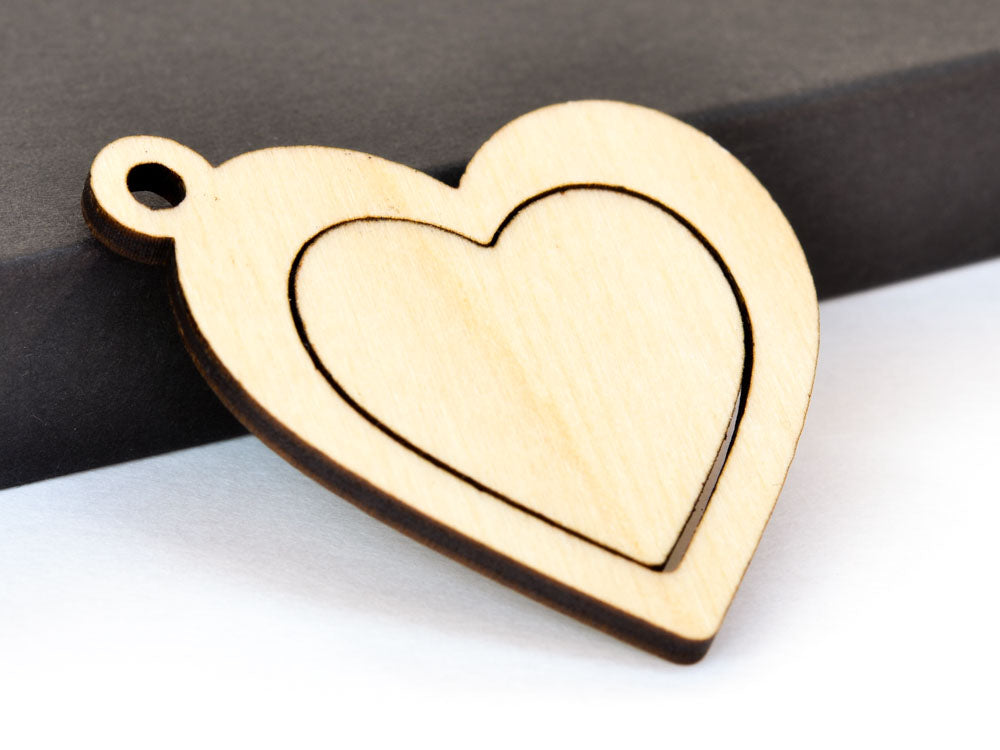 Heart Embroidery Hoop Pendants Falling Heart Corner Connector Laser Cut Engraved from Wood - WayvDesigns
