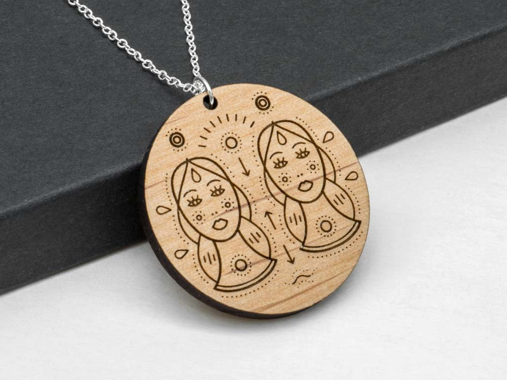 Gemini Zodiac Necklace Laser Engraved Wood Silver Chain Gift Astrology May June Birthday - WayvDesigns