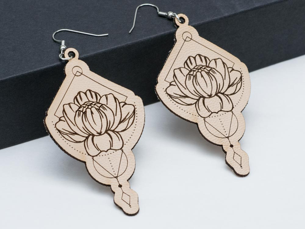 Lotus Geometric Floral Leather Earrings Laser Engraved Cutout Geometry Flower Gift for Women - WayvDesigns