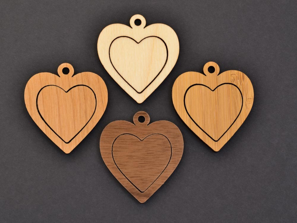 Heart Embroidery Hoop Pendants Center Connector Laser Cut Engraved from Wood Valentines Day EHPHRT-C - WayvDesigns