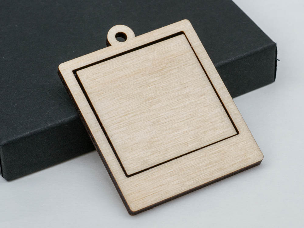 "1.5"" Large Polaroid Photo Frame Embroidery Hoop Pendants Square Instax Laser Cut Engraved from Wood - WayvDesigns"