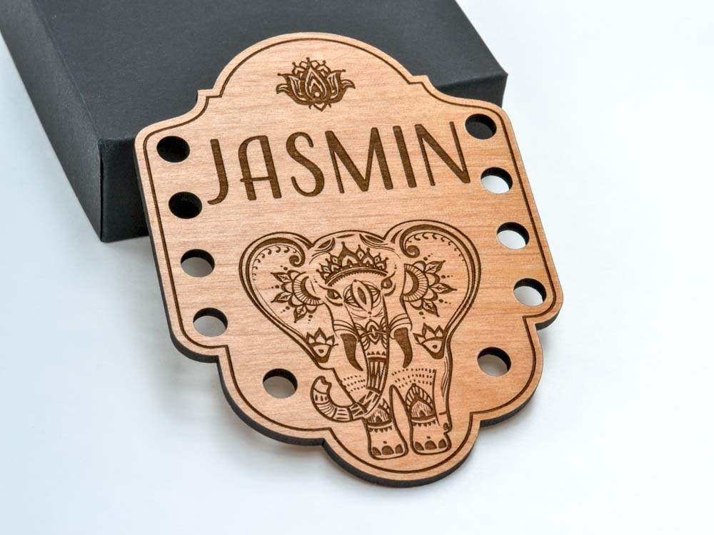 Personalized Mehndi Elephant Embroidery Thread Holder Laser Cut Engraved from Alder Wood - WayvDesigns