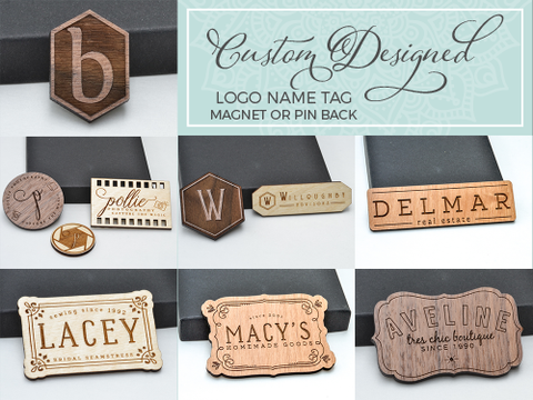 Personalized Name Tag with Magnetic Back Laser Engraved & Cut from Wood Custom Design Size & Shape - WayvDesigns