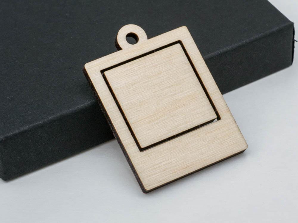 "1"" Small Polaroid Photo Frame Embroidery Hoop Pendants Square Instax Laser Cut Engraved from Wood - WayvDesigns"
