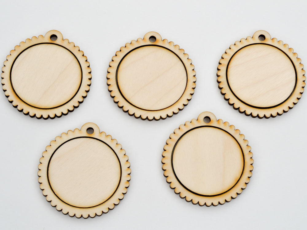 "1.5"" Embroidery Hoop Scalloped Edge Pendants Large 38mm Laser Cut from Wood EHPSC-38 - WayvDesigns"