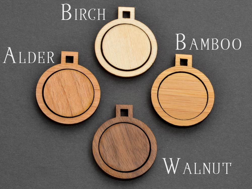 "1.5"" Circle with Round Connectors Embroidery Hoop Pendants 38mm Laser Cut from Wood - WayvDesigns"