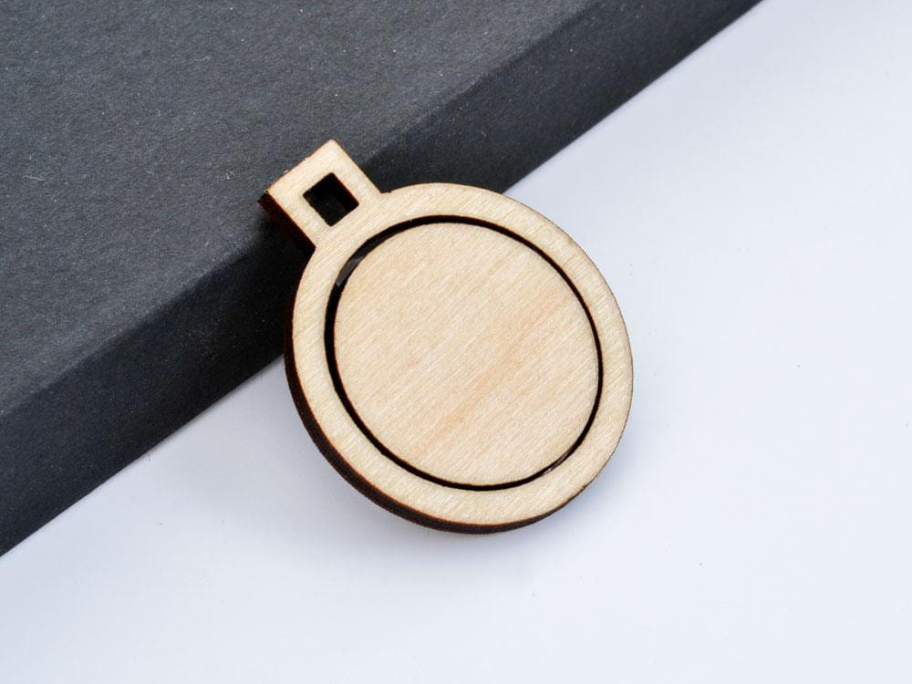 "1"" Embroidery Hoop Small Circle Pendants Square Connectors 25mm Laser Cut from Wood EHPCIR-S-25 - WayvDesigns"