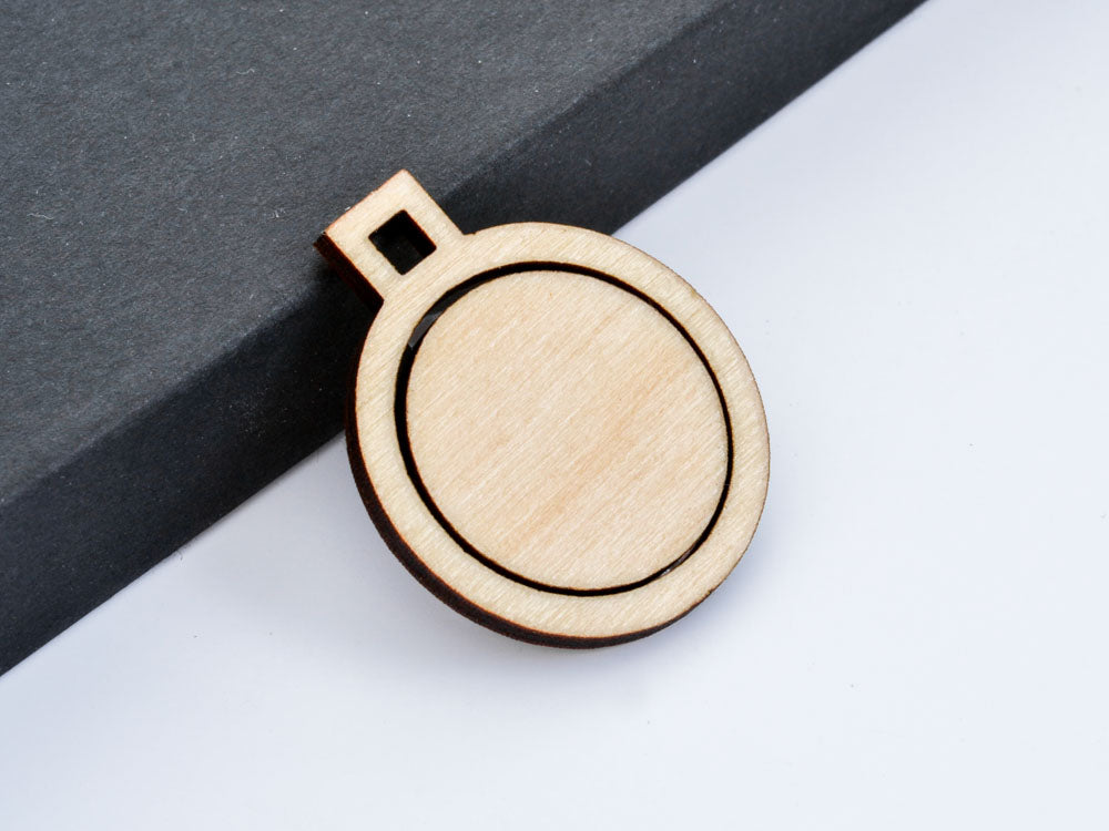 "SAMPLER Embroidery Hoop Small Circle Pendants Square Connectors Set of 4 1"" 25mm Laser Cut Wood - WayvDesigns"