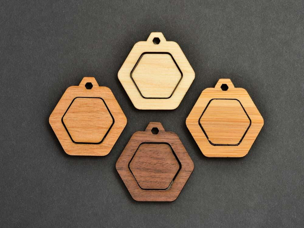 "1"" Embroidery Hoop Hexagon Pendants Honeycomb 25mm Laser Cut from Wood EHPHC-25 - WayvDesigns"