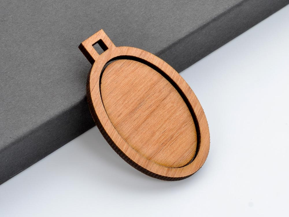 "1"" x 1.5"" Embroidery Hoop Vertical Oval Pendants Square Connector Large 25mmx38mm Laser Cut Wood - WayvDesigns"