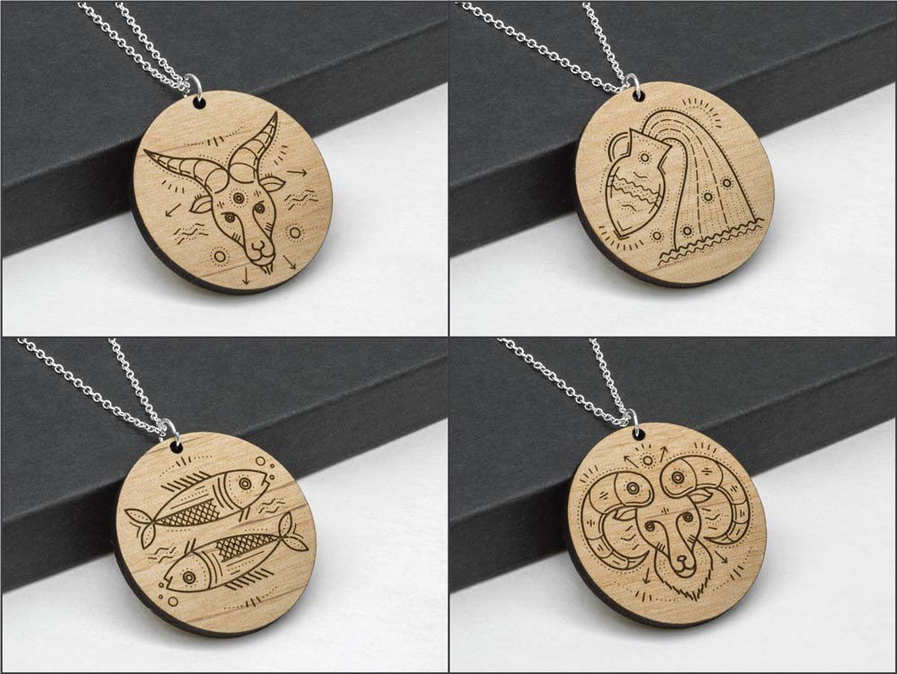 Pisces Zodiac Necklace Laser Engraved Wood Silver Chain Gift Astrology February March Birthday - WayvDesigns