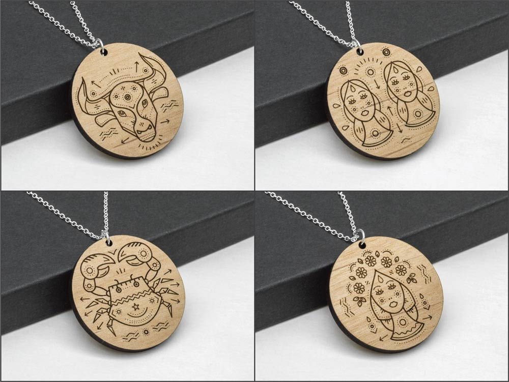Taurus Zodiac Necklace Laser Engraved Wood Silver Chain Gift Astrology April May Bull Birthday - WayvDesigns