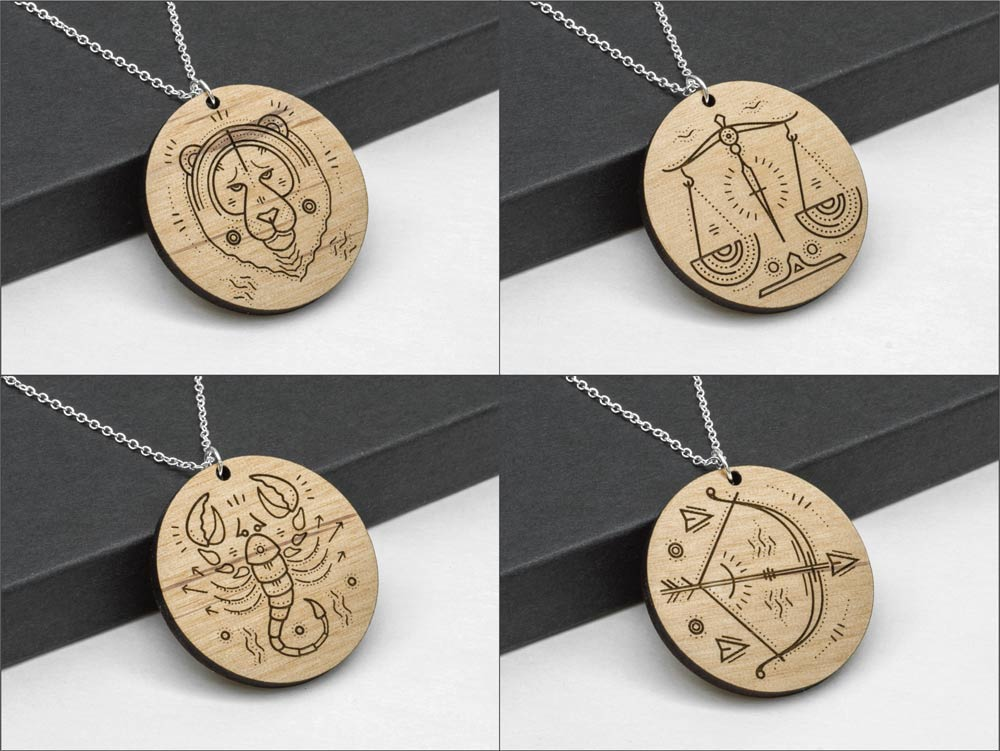 Aquarius Zodiac Necklace Laser Engraved Wood Silver Chain Gift Astrology January February Birthday - WayvDesigns