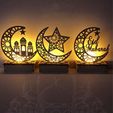 Wooden Eid Mubarak Ramadan Ornament Muslim Islamic Gift DIY Home Party Decor