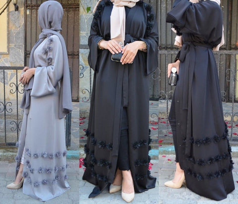Abaya Muslim Women Open Front Islamic Long Dress