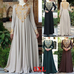 Women's Kaftan Abaya Golden Print Islamic Muslim Party Dress