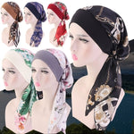 Printed Silk Full Turban Hat Head Wrap Hijab